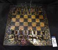 Cast Bronze Chess Set w HandPainted Brass Chess Board