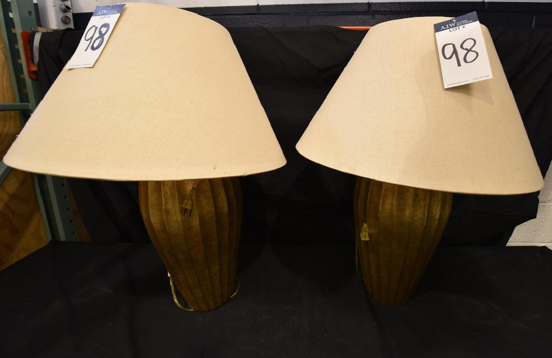 Pair of McGuire Fluted Metal Base Lamps w/ Gold Finish
