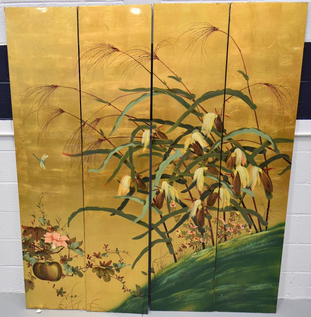 Asian Lacquered 4 Panel Floor Screen