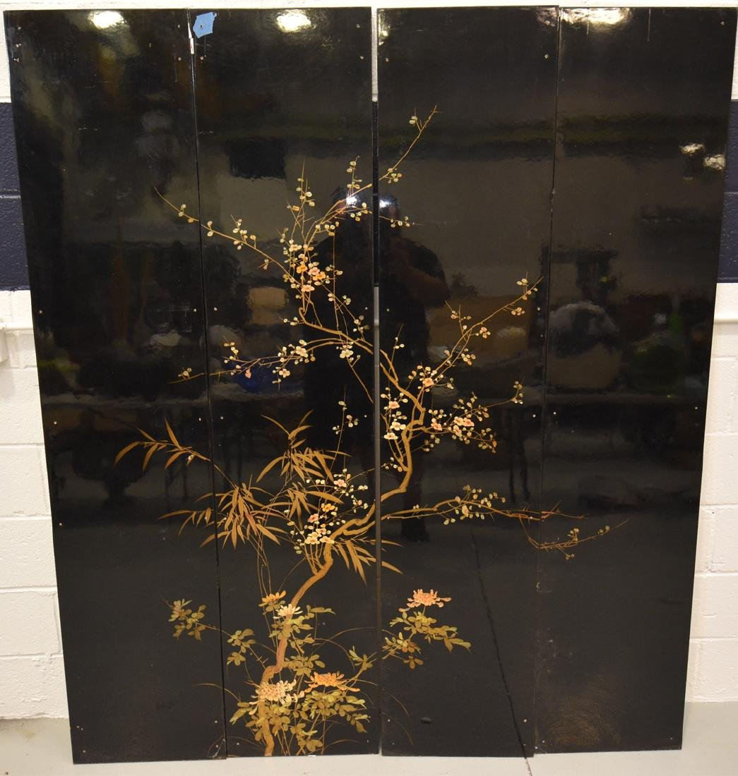 Asian Lacquered 4 Panel Floor Screen - 2