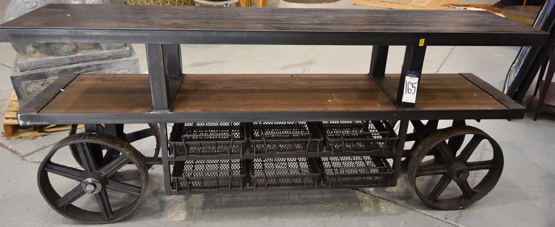 Large Plate Steel & Wood industrial Cart