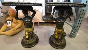 Pair of Cast Resin Blackamoor Mirrored Side Tables