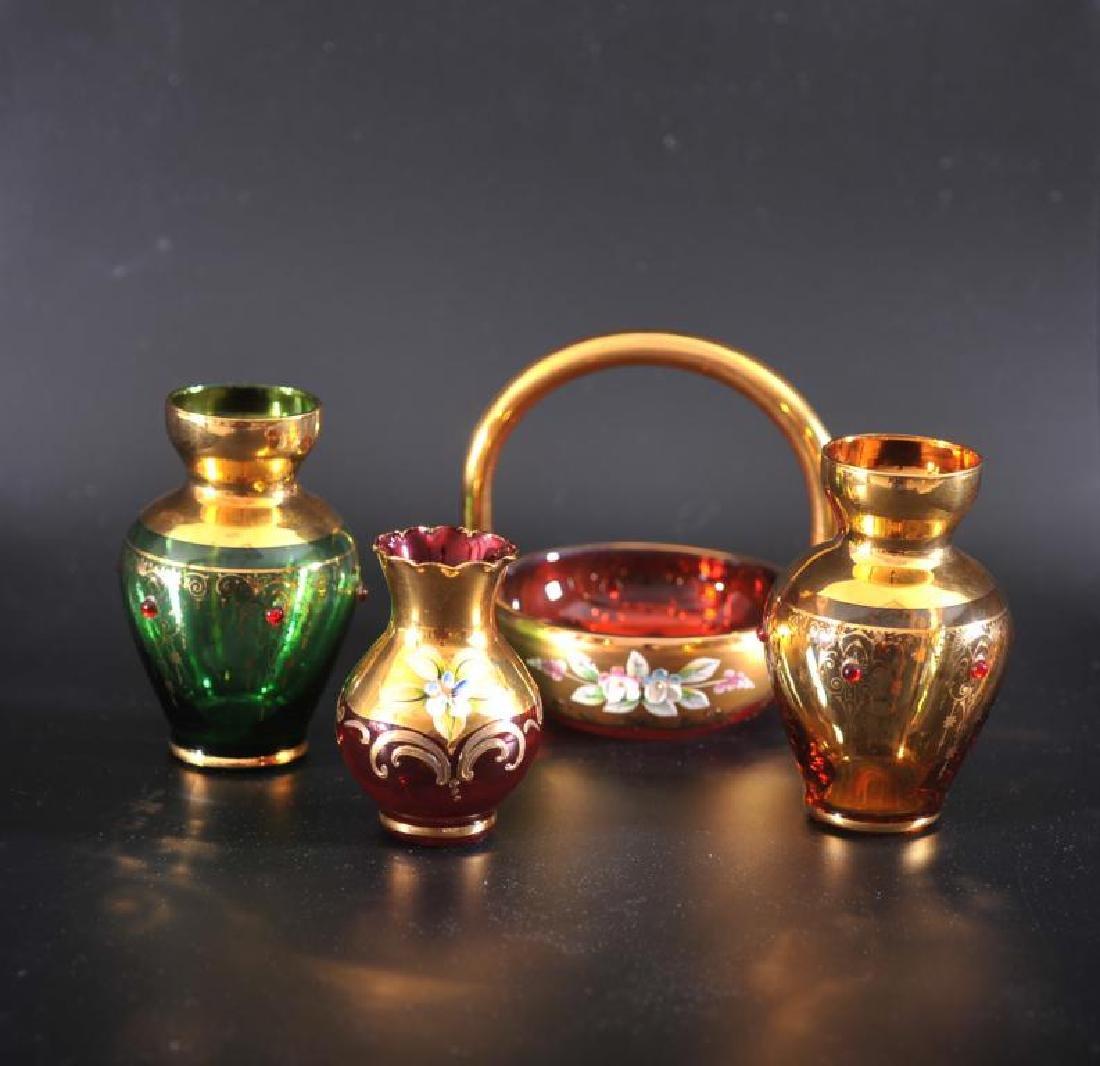 4 bohemian glass items