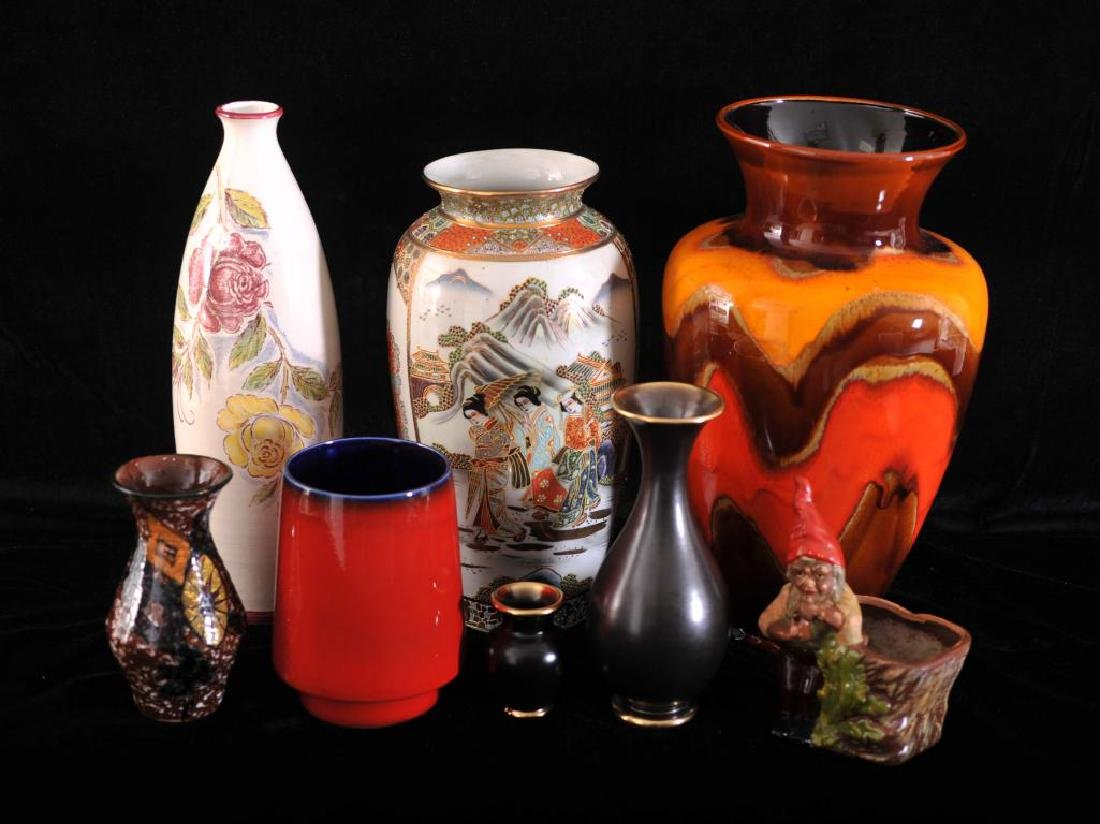 collection of 8 vases mostly german