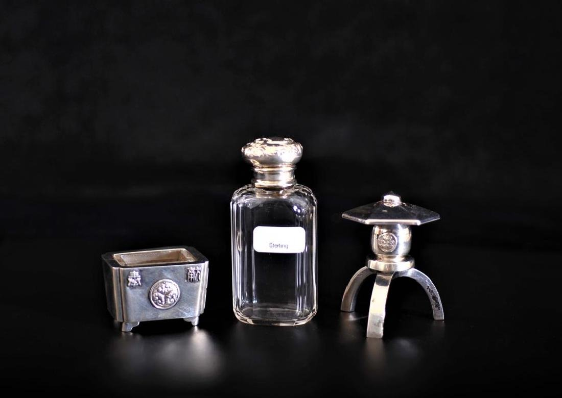 silver cap perfume bottle, with silver salt and pepper