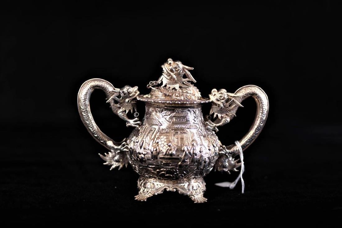 Chinese silver export 3 piece tea set decorated in - 3