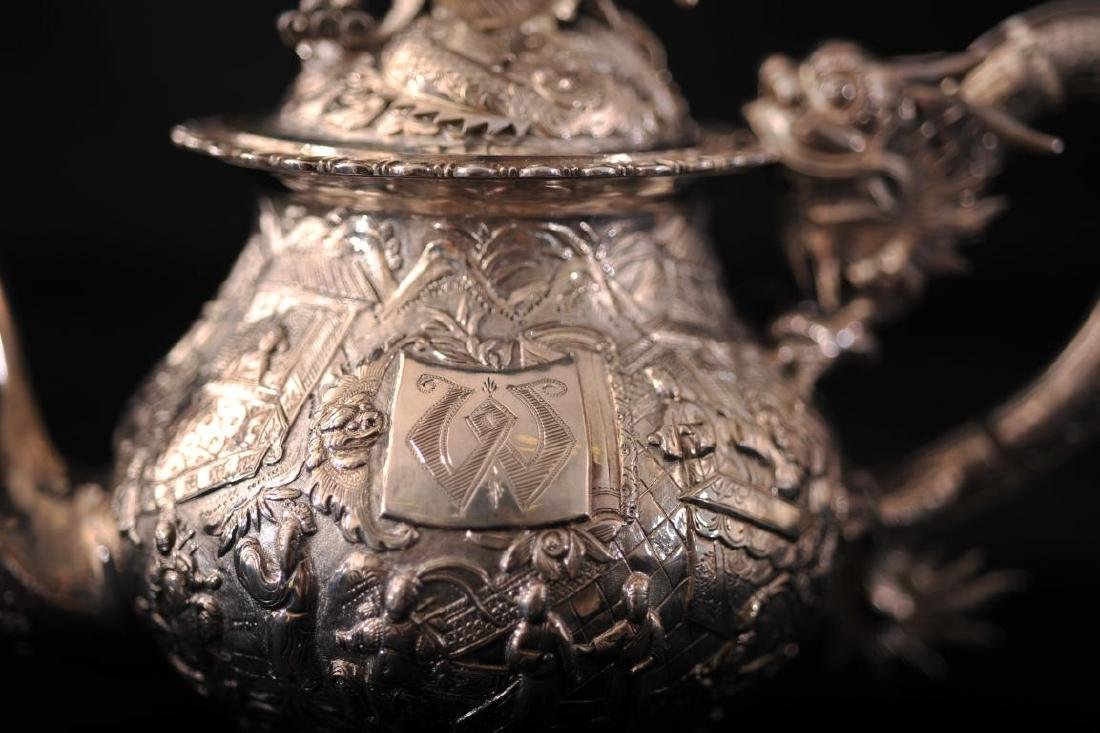 Chinese silver export 3 piece tea set decorated in - 9