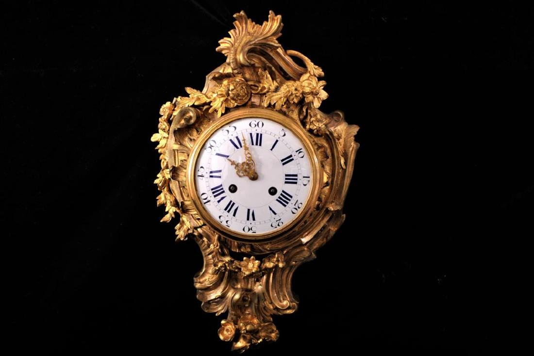 French gilt bronze rococo style cartel clock, Japy