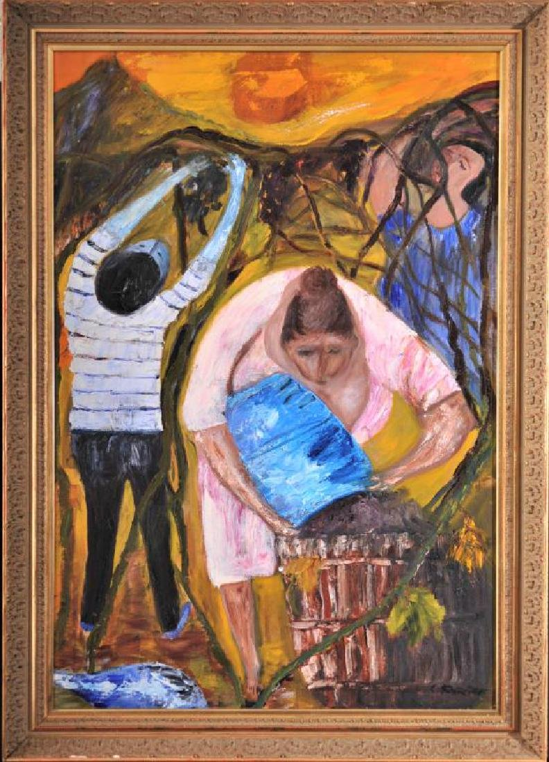 Artist unknown, grape pickers, oil on canvas, signed