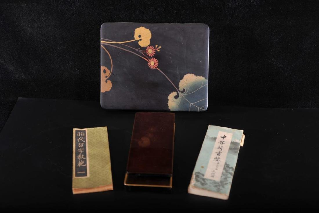Japanese lacquer box with two calligraphy text books