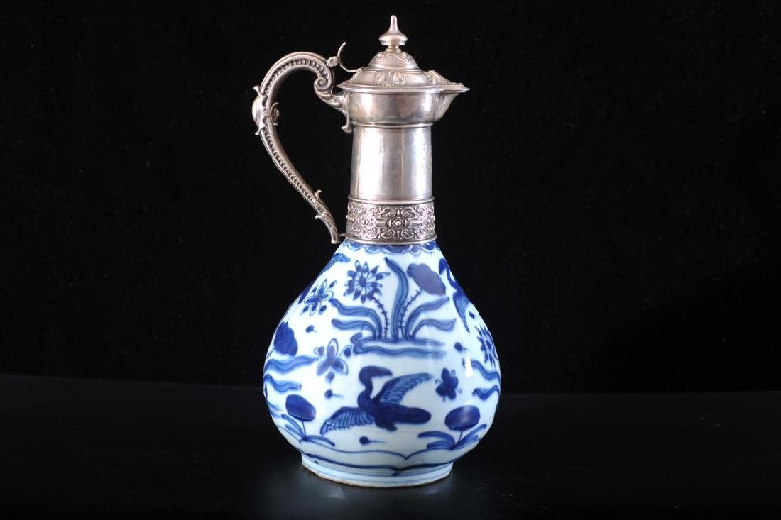 Chinese silver topped blue and white ewer