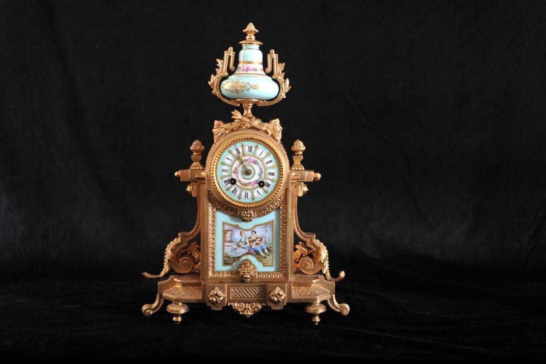 French painted porcelain and gilt metal mantel clock