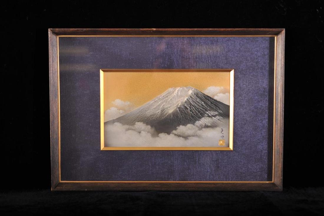 Framed Japanese gold and silver montage of Mount Fuji