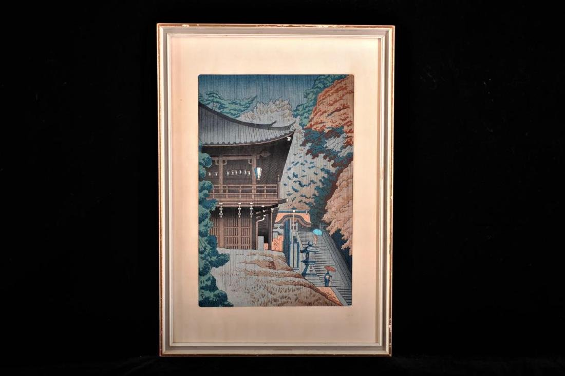 Japanese woodblock print of a temple