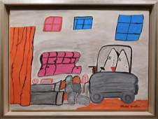 Manner of Philip Guston: Interior with figures and