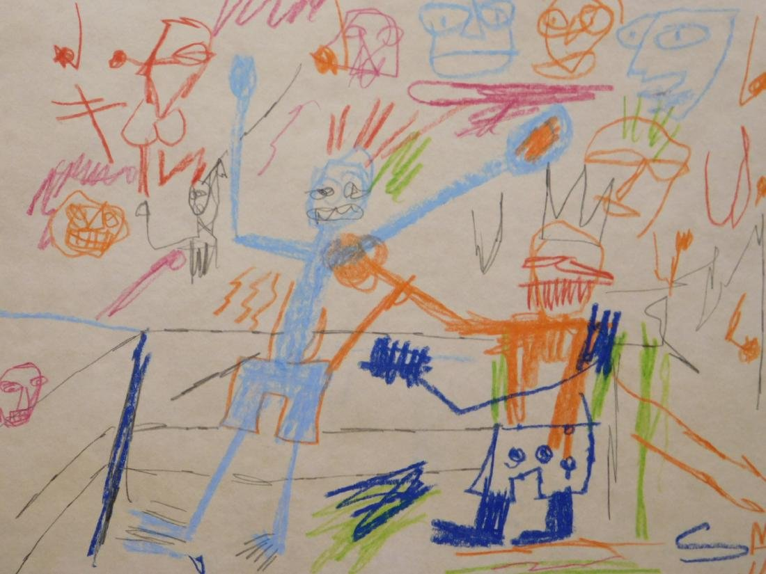 Manner of Jean Michel Basquiat: Untitled Drawing