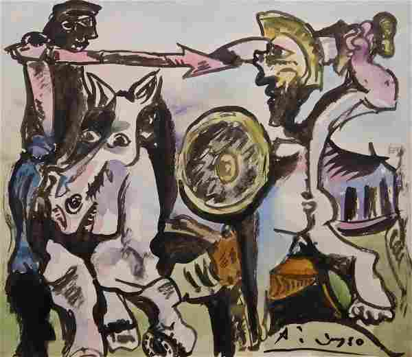 Manner of Pablo Picasso: Dueling Soldiers