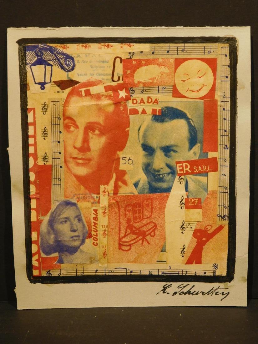 Manner of Kurt Schwitters: Collage on Heavy-weight Grey - 2