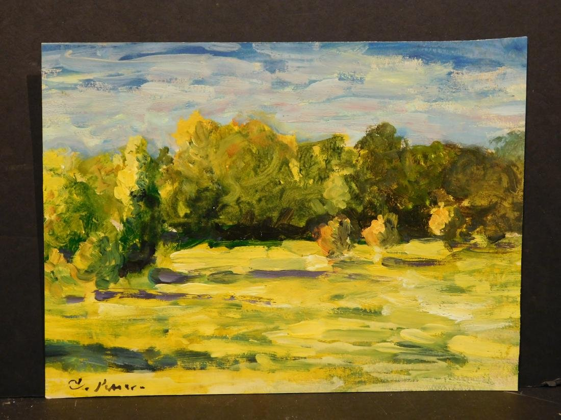 Manner of Camille Pissarro: View of Countyside (Study) - 2