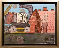 Philip Guston Hooded Figures in Surreal Landscape