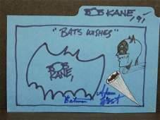 Bob Kane Bats Wishes Signed Drawing