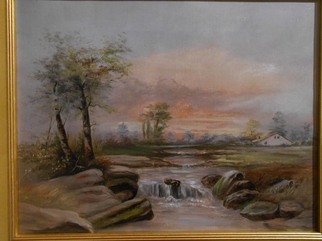 American Tonalist/Barbizon Rural Sunset Oil Painting - 2