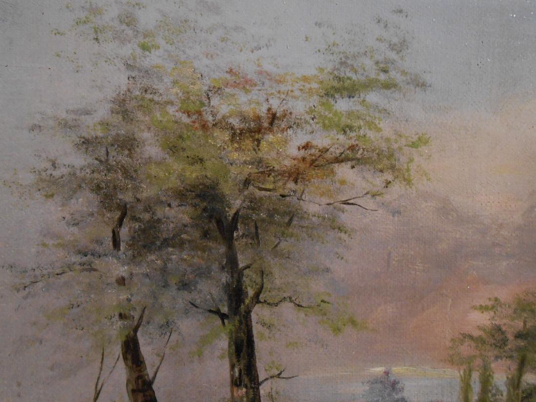 American Tonalist/Barbizon Rural Sunset Oil Painting - 7
