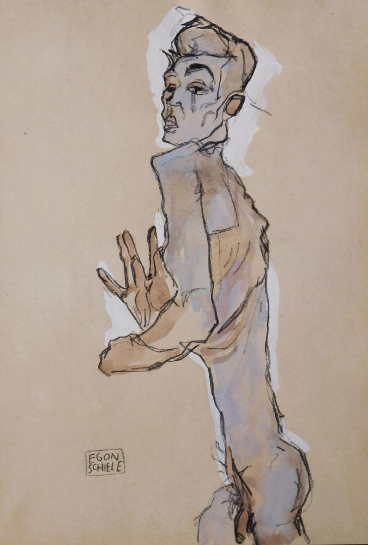 Egon Schiele: Self Portrait Study