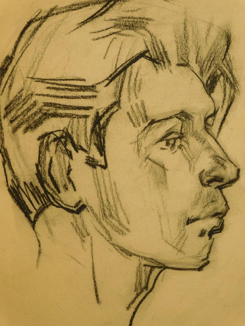 Portrait of a Man, Charcoal Drawing - 3
