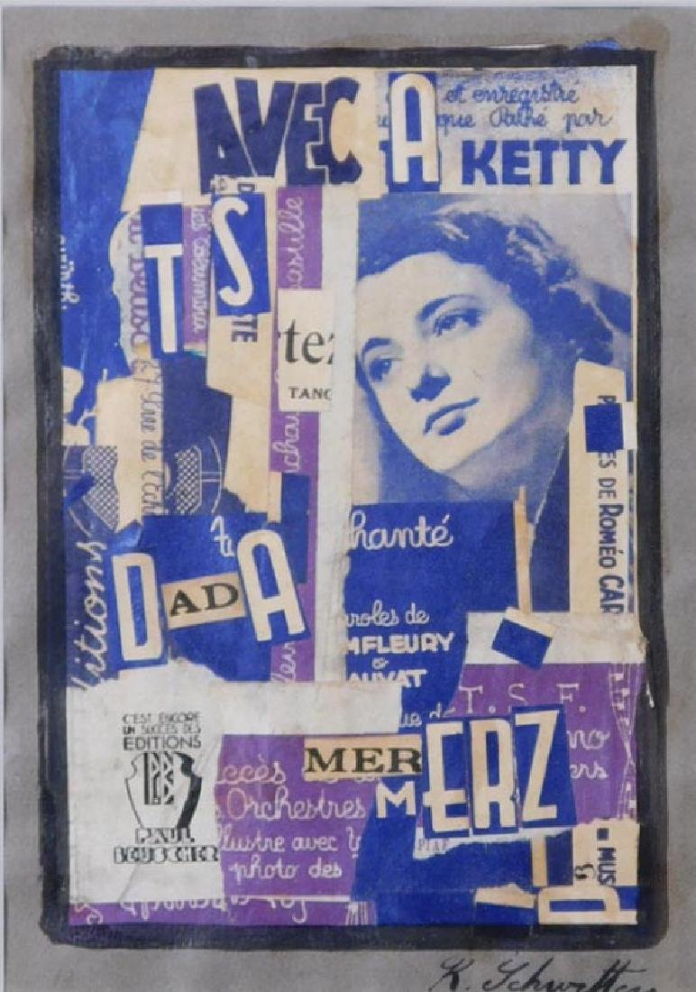 Kurt Schwitters: Mixed Media Collage in Purple and Blue