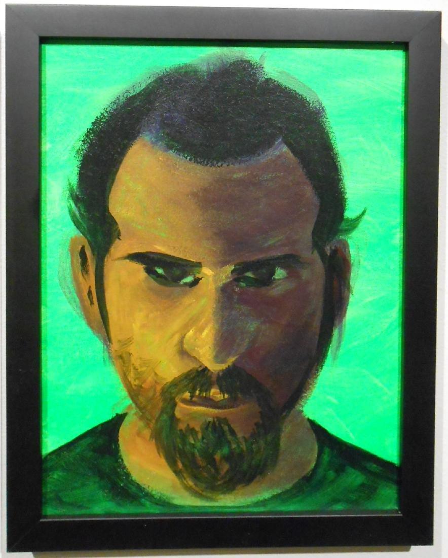 Unidentified Artist: Portrait on Green Background