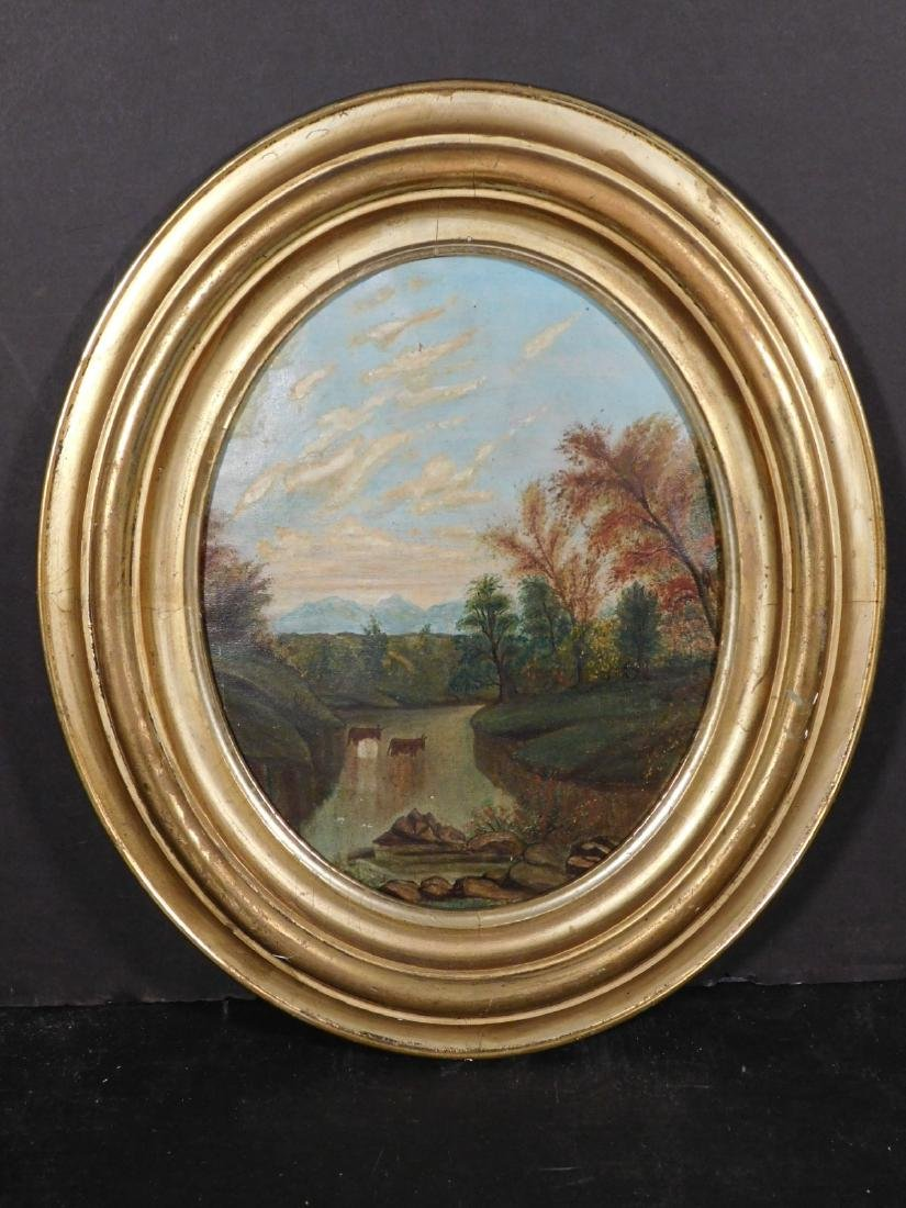 19th c. Oval Landscape Painting