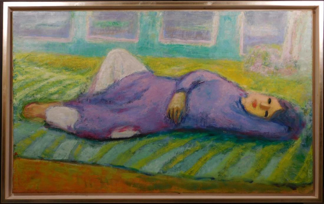 Unidentified Artist: Woman in Purple Dress Relaxing