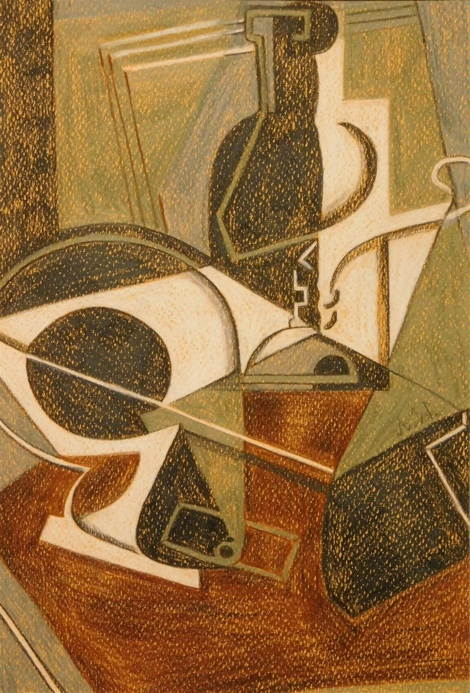 After Metzinger: Cubist Composition with Bottles (Gray,