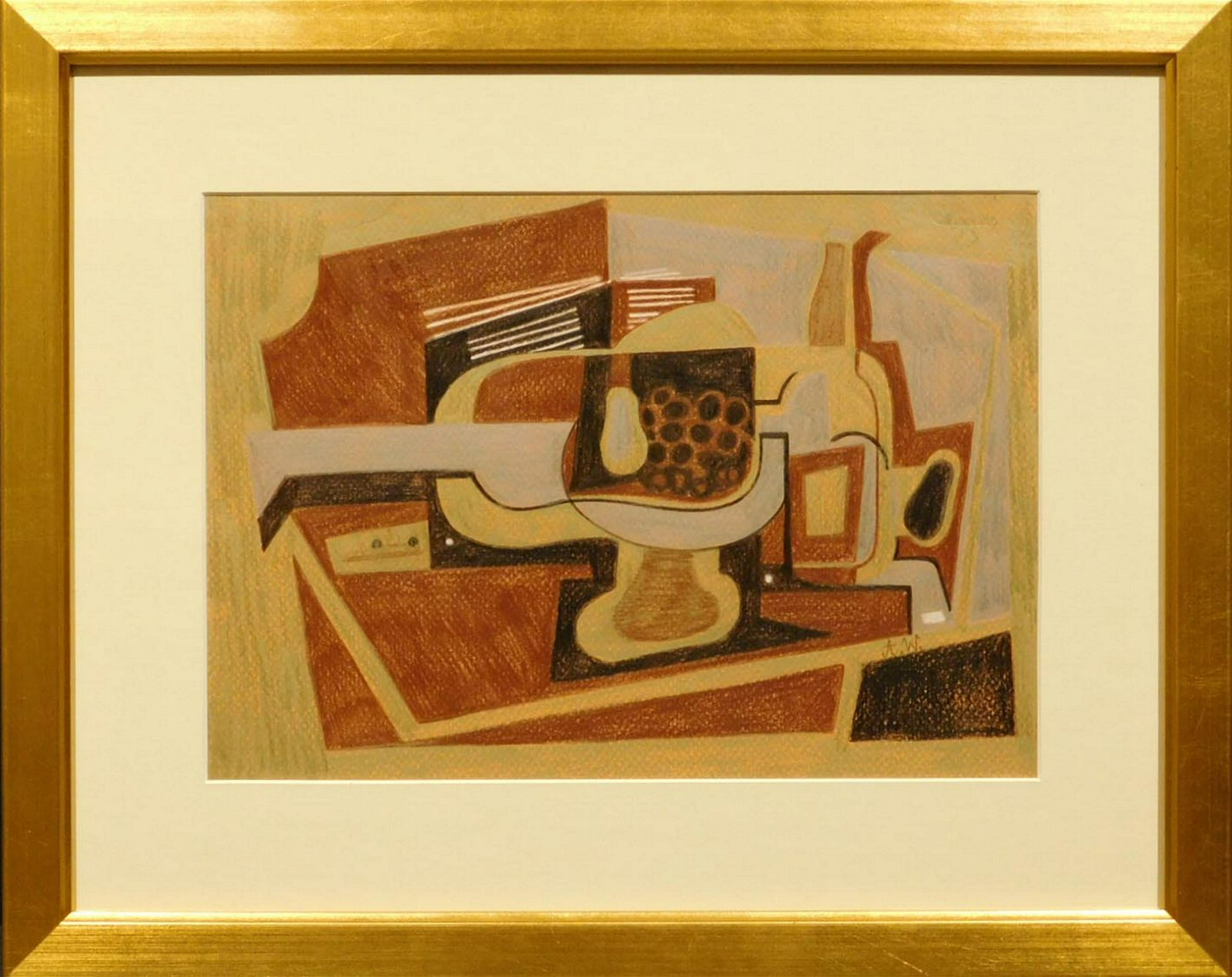 After Juan Gris: Guitar and Bottles in Brown, Silver,