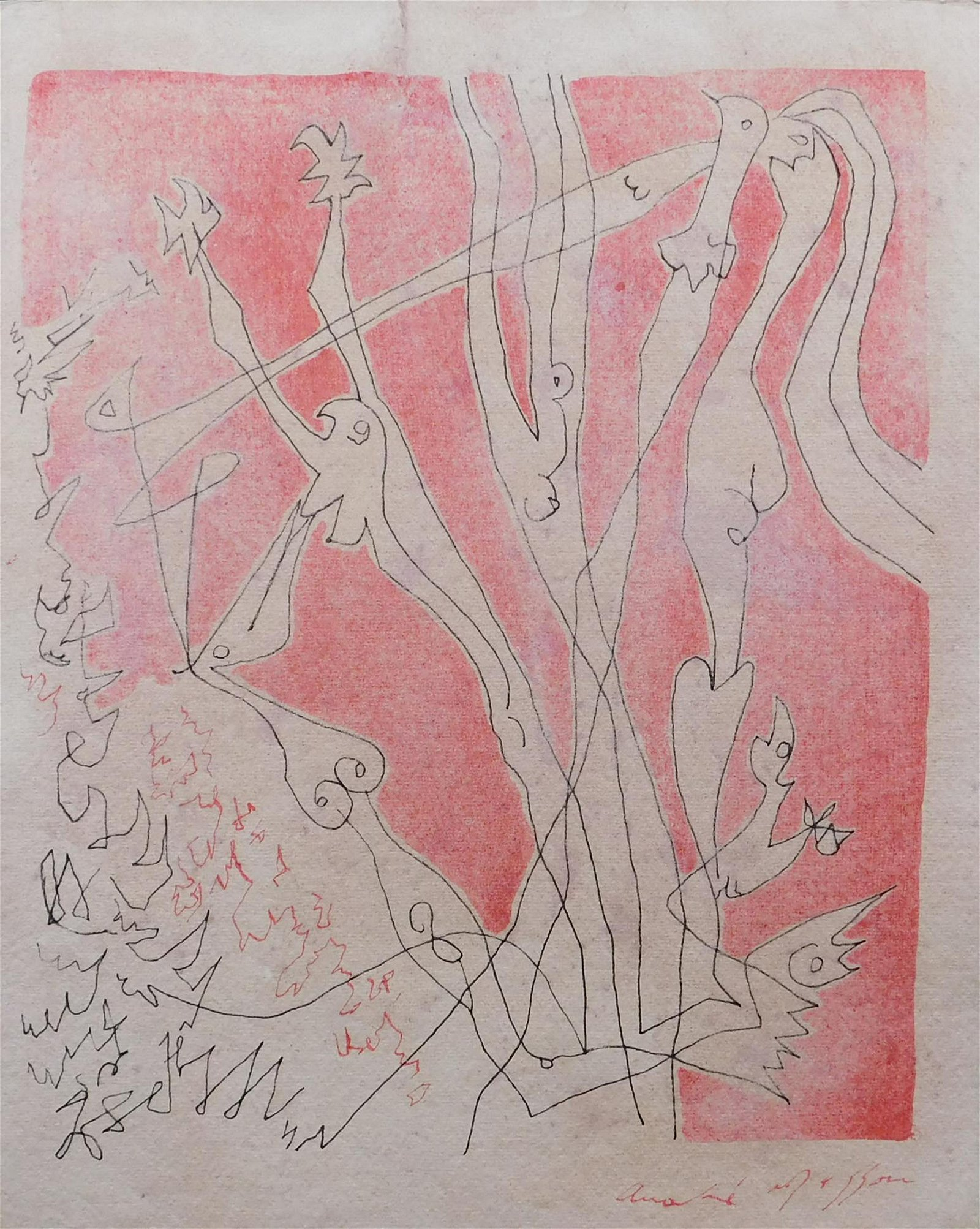 Andre Masson: Surreal Figures in Red and Black