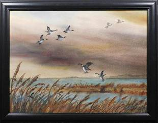 Aiden Lassell Ripley Geese on a Lake Watercolor Study
