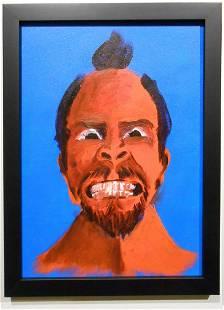 Portrait on Blue Background