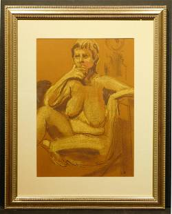 Female Nude Pastel Figure PaintingDrawing Signed EH
