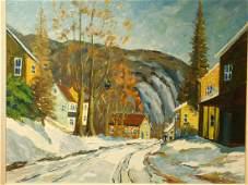 A. Metz, Snowy Road through Village oil painting