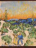 Manner of Vincent van Gogh: Two Figures in a Field