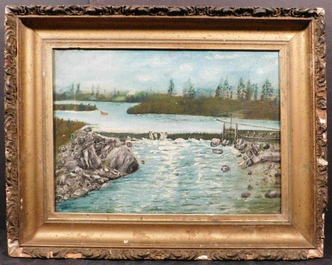 River Scene Antique Oil Painting