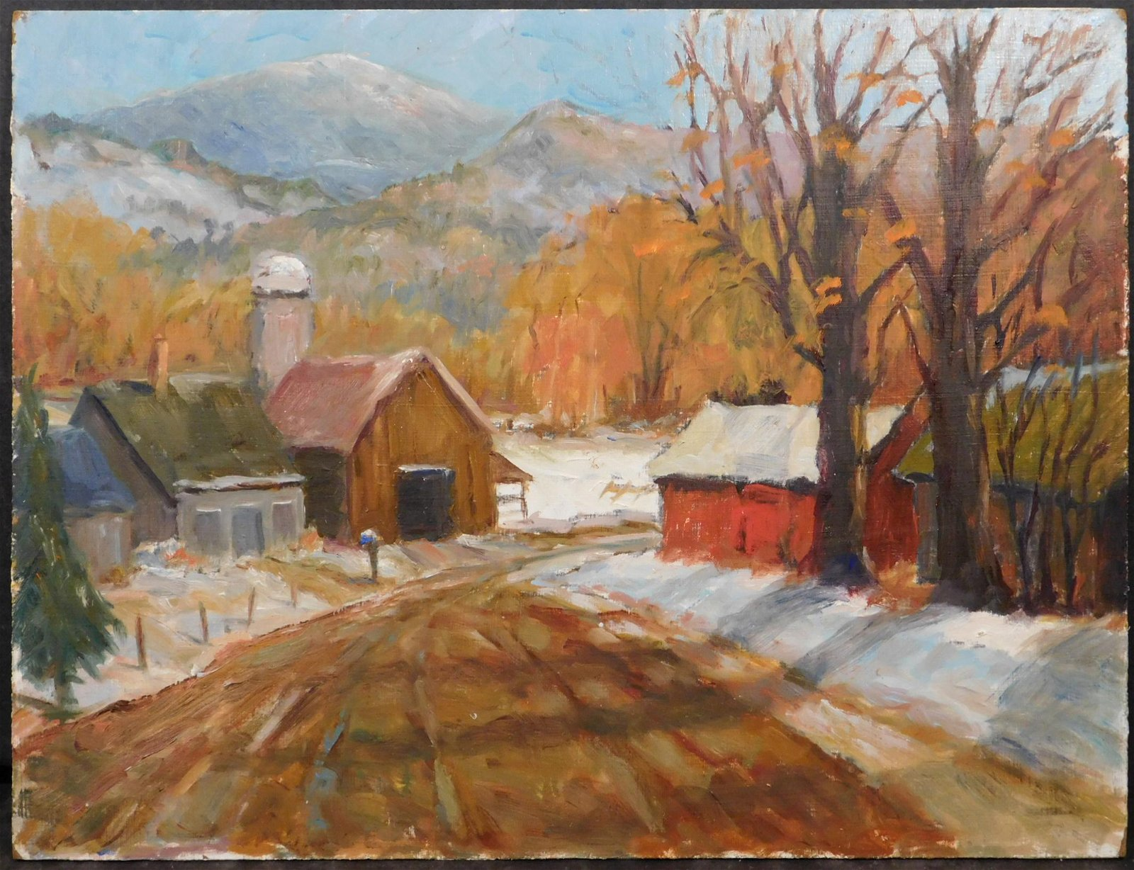 Ronald  Seager: Double Sided Plein Air Farm Painting