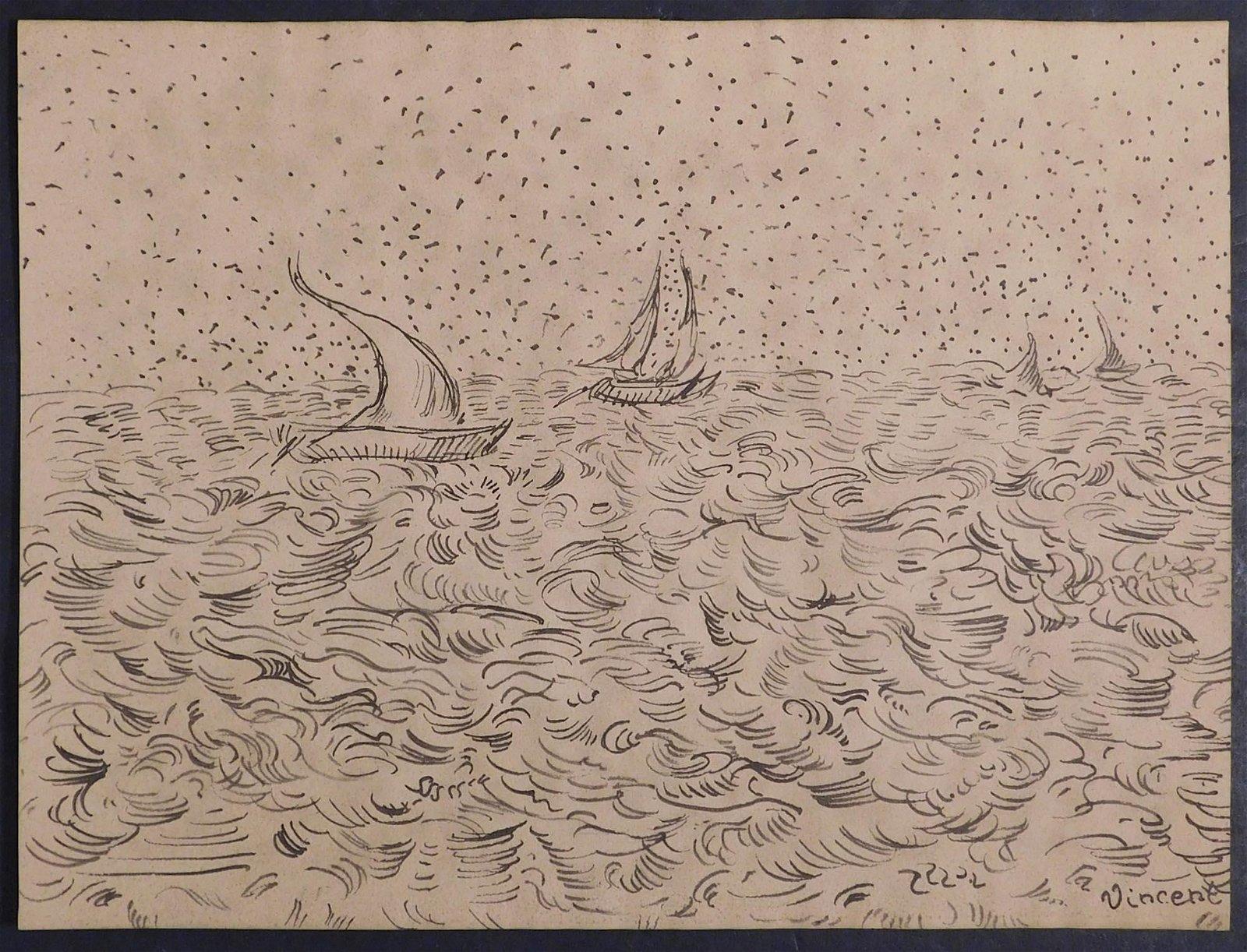 Vincent van Gogh, Manner of: Boats Sketch