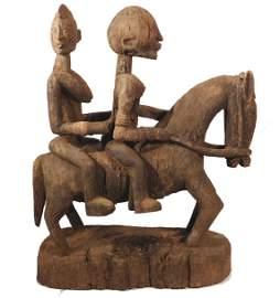 Dogon Equestrian Sculpture: Horse w/2 Riders