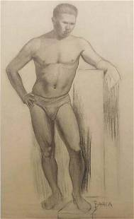Einar Arvid Barck Male Figure Study with Podium