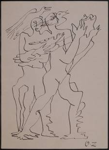 Ossip Zadkine Manner of Attributed Two Men with