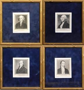 Four Framed Presidential Portraits Washington