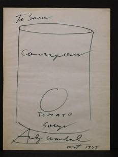 Andy Warhol Attributed Soup Can Drawing