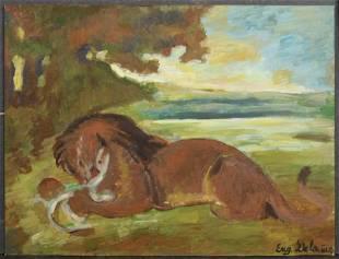 Eugene Delacroix After Lion Devouring a Goat